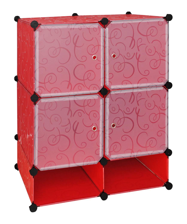ts-ideen Meuble de rangement Meuble à chaussures Commode Rouge/blanc transparent Entrée, chambre, dressing 5135