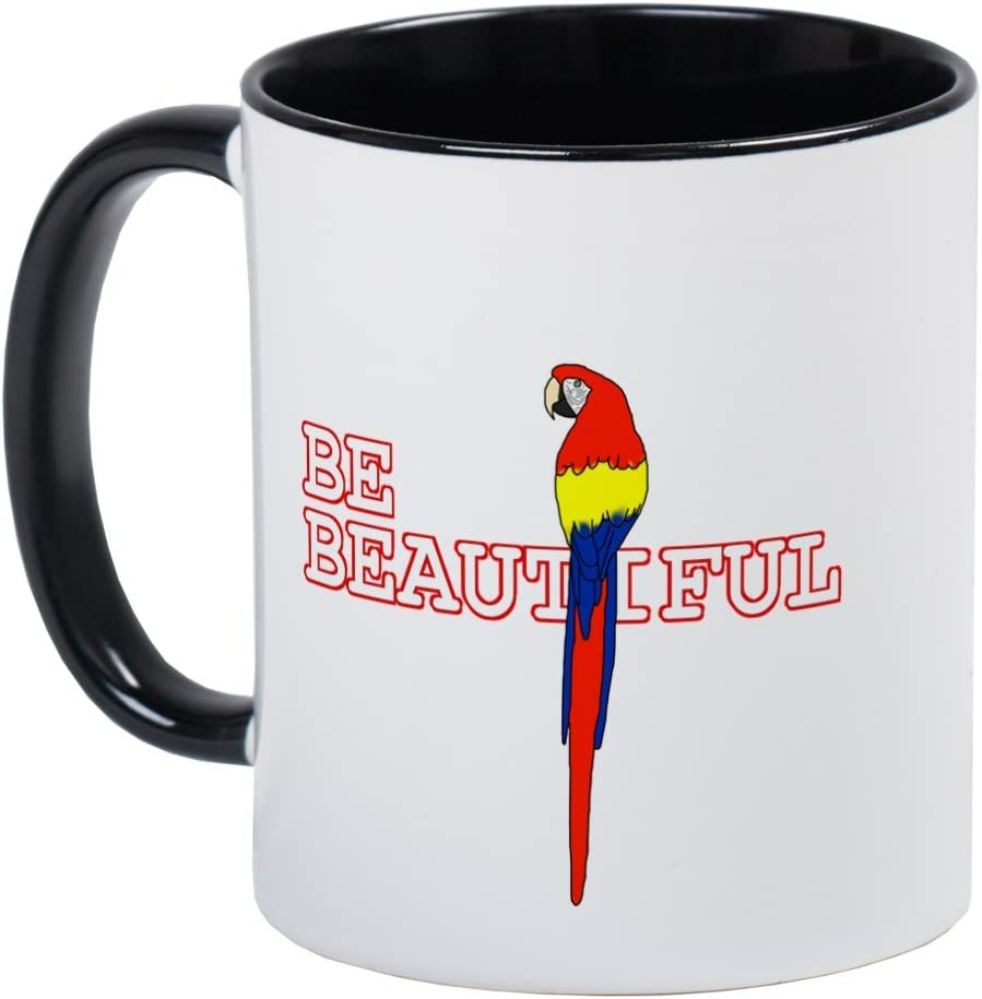 Amazon Com Cafepress Be Beautiful Scarlet Macaw Mug Unique Coffee Mug Coffee Cup Kitchen Dining