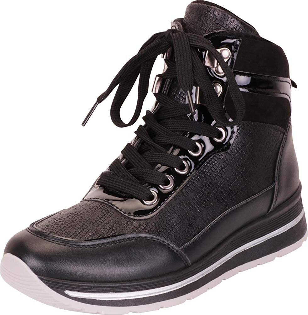 Black Cambridge Select Women's High Top Lace-Up Chunky Platform Fashion Sneaker