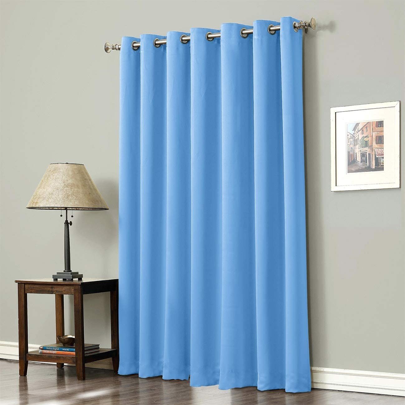 Darlicent Grommet Top Blackout Curtains Thermal Insulated Light Blocking Drapery Panels for Living Room Bedroom Curtains 1 Panel 52×96 Inch, Minimalist Solid Color Blue