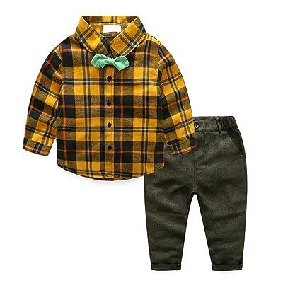 2pcs Bébé Garçon Ensemble Vêtement de décontracté enfants Plaid Shirt TOPS Pantalons tenues (100)