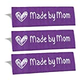 Wunderlabel Made by Mom Mother Crafting Craft Art Fashion Woven Ribbon Ribbons Tag for Clothing Sewing Sew on Clothes Garment Fabric Material Embroidered Label Labels Tags, White on Purple, 25 Labels