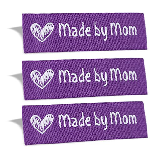 Wunderlabel Made by Mom Mother Crafting Craft Art Fashion Woven Ribbon Ribbons Tag for Clothing Sewing Sew on Clothes Garment Fabric Material Embroidered Label Labels Tags, White on Purple, 50 Labels by Wunderlabel
