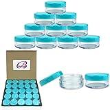(Quantity: 50 Pieces) Beauticom 5G/5ML Round Clear Jars with TEAL Sky Blue Lids for Scrubs, Oils, Toner, Salves, Creams…