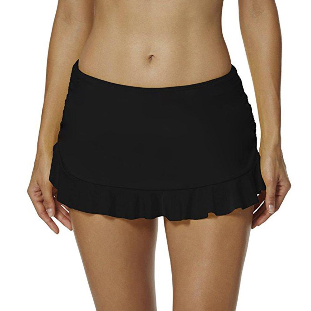 PERONA Skirted Bikini Bottom Swimsuit Women's Ruffle Swim Skirt High Waisted Tankini Skort with Panty