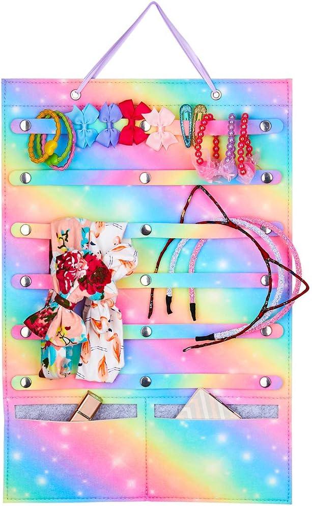 Beinou Stirnband Halter Veranstalter f/ür M/ädchen Regenbogen Hairbow Speicher Halter Filz Wandbehang Veranstalter f/ür Haarspangen Haargummis Schmuck Home Decor
