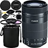 Canon EF-S 55-250mm f/4-5.6 IS STM Lens Bundle with Accessory Kit for EOS 7D Mark II, 7D, 80D, 70D, 60D, 50D, 40D, 30D, 20D, Rebel T6s, T6i, T5i, T4i, SL1, T3i, T6, T5, T3, T2i, T1i, XSi, XS, XTi, XT
