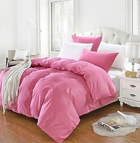 Algodón activo color sólido edredón nórdico para cama doble, funda ...