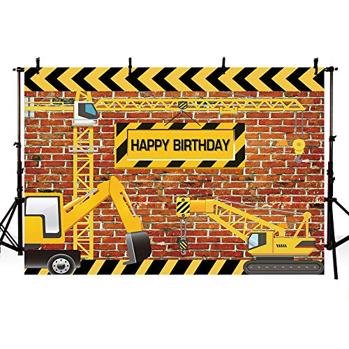 - MEHOFOTO Construction Birthday Photo Background Blackboard Boy Happy Birthday Party Decoration Banner Dump Truck Builder Excavator Backdrops for Photography 7x5ft