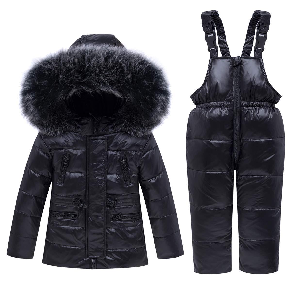 Kids Ski Suits 2-Piece Snowsuit Set Winter Hooded Puffer Jacket + Snow Bib Pants Ultralight Skisuit Set, Black 18-24 Months by JiAmy