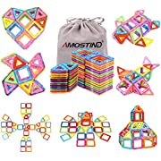 #LightningDeal 94% claimed: AMOSTING Magentic Building Tiles Building Blocks Educational Construction Building Toys for Boys and Girls Colorful Durable - 56 pcs
