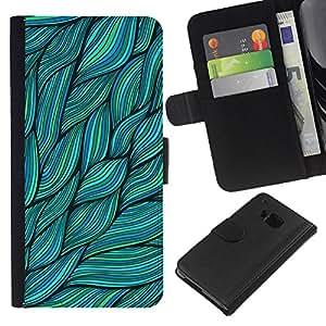 EJOY---La carpeta del tirón la caja de cuero de alta calidad de la PU Caso protector / HTC One M9 / --Hojas Verdes Naturaleza Tinta de Verano