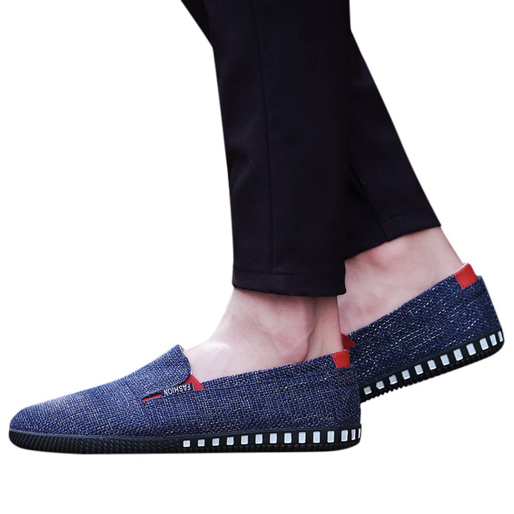 Goldweather Men Canvas Sports Loafers Fashion Casual Solid Color Flat Slip On Sneakers Shoes (US:8.5, Blue)