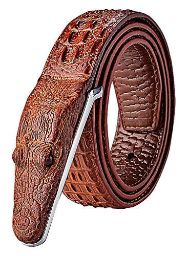 Celino Men's Casual Faux Leather Crocodile Head Texture 3.8 cm Wide Belt Strap, RedBrown 43.31 inch
