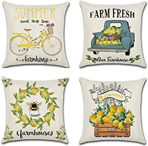 Faromily Farm Fresh Lemon Pillow Covers Farmhouse Lemon Wreath Bicycle Truck Country Style Home Decor Cushion Covers Cotton Linen Throw Pillow Cases 18 x 18 inch Set of 4