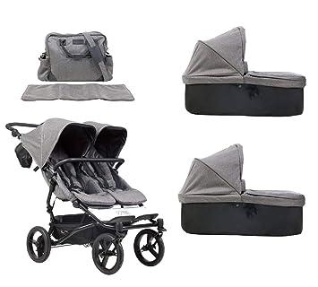 Mountain Buggy duet buggy V3 Luxury Collection - Carrito de bebé de dos plazas con bolso cambiador y 2 capazos de bebé Carrycot Plus - Herringbone (patrón ...