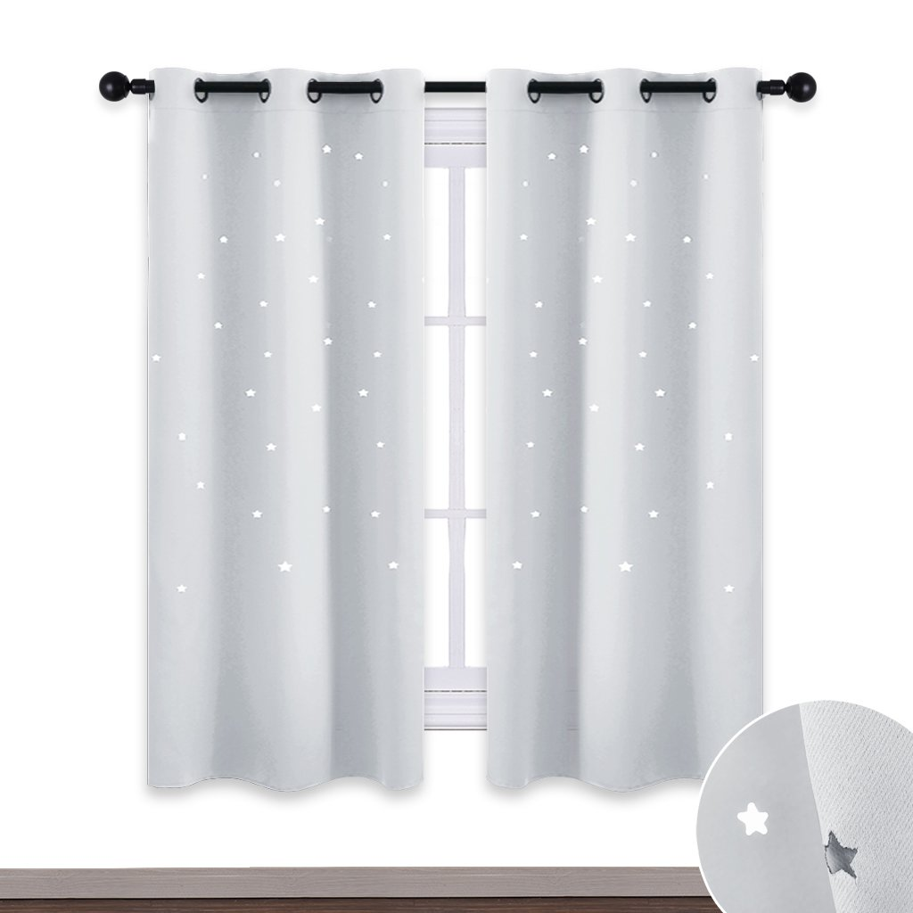 NICETOWN Star Curtains for Kids Room - Blackout Curtains Panels with Die-out Stars, 42'' by 63'' Thermal Insulated Window Treatment Drapes for Bedroom/Play Room/Themed Room, 2-Pack, Greyish White