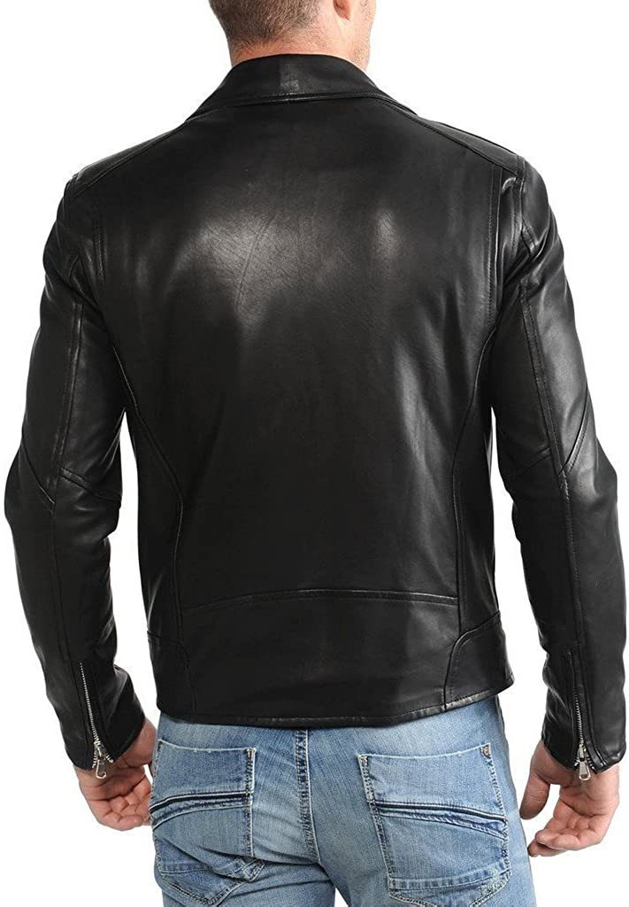 New Men Quilted Leather Jacket Soft Cow Leather Biker Bomber LFC797