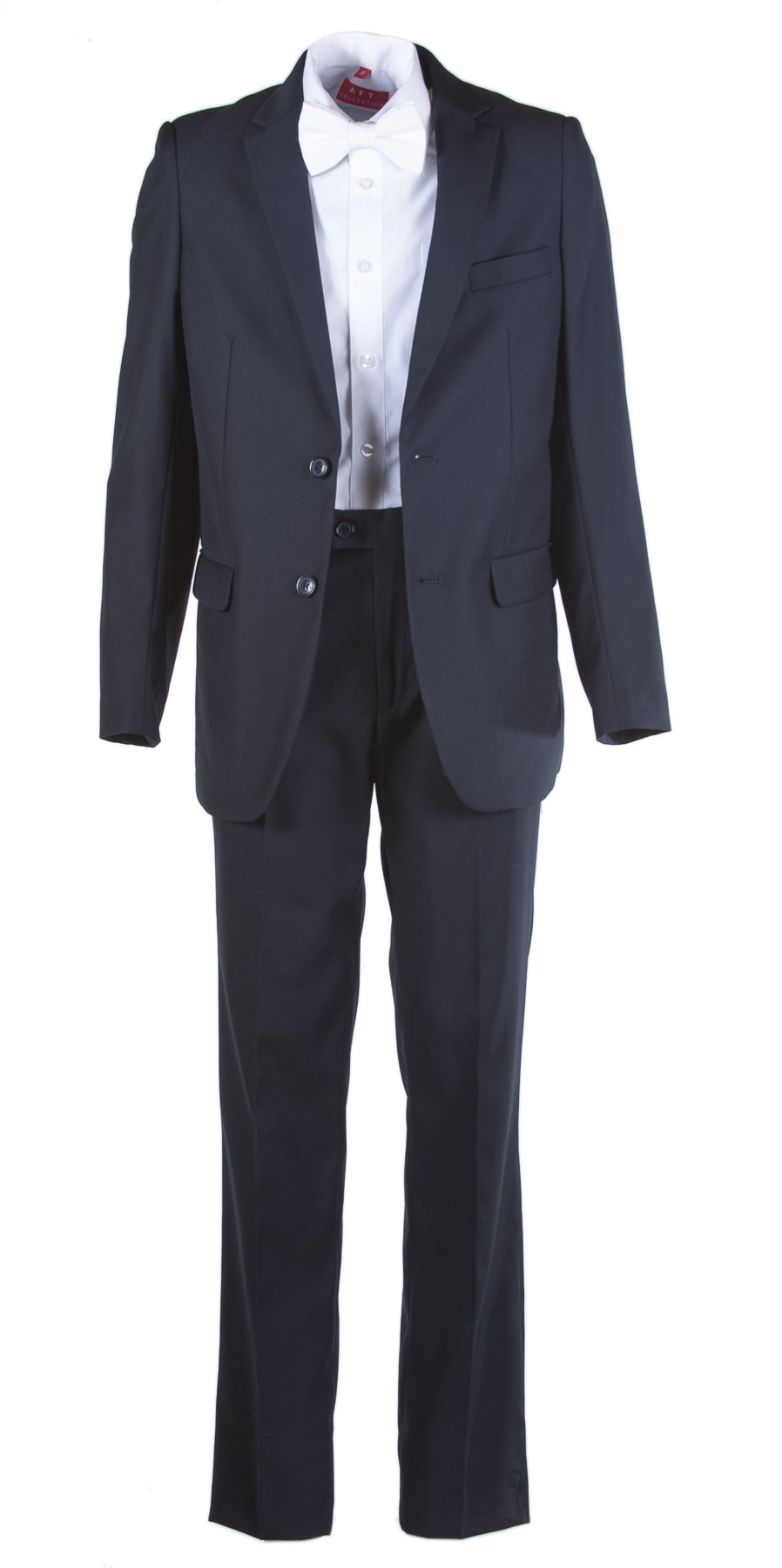 Boys Slim Fit Navy Communion Suit Suspenders & White Paisley Bow Tie (8 Boys)