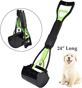 LEADALLWAY |Poldable Dog Poop Scooper|24 Inch Long Handle Jaw Pet Pooper Scoopers for Large Small Medium Dogs,Ideal for Grass,Gravel,Yards or Patio Wast-Pick Up