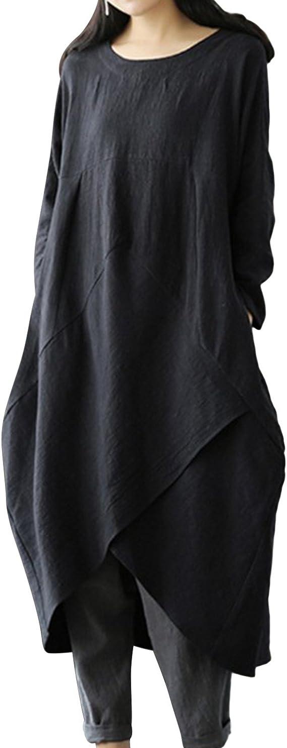 Women Plus Size Long Sleeve Round Neck Kaftan Dress
