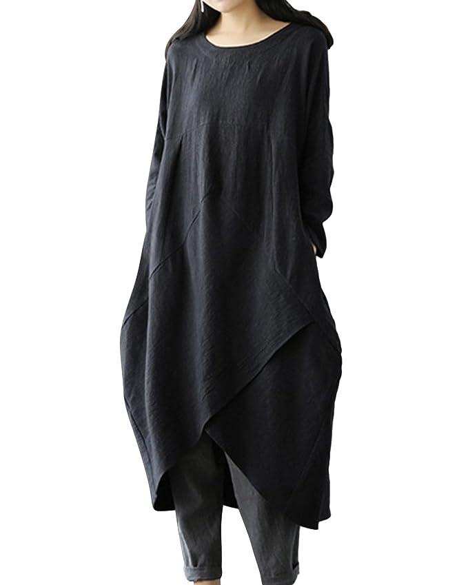 16260c33ee Jacansi Women Plus Size Long Sleeve Round Neck Cotton Linen Loose Long Kaftan  Dress M-4XL at Amazon Women s Clothing store