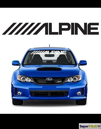 Alpine Mit Flagge Sponsor Aufkleber Windschutzscheibe Ca 80 Cm Tuning Racing Rennsport Motorsport Deko Rennen Aus Hochleistungsfolie Aufkleber