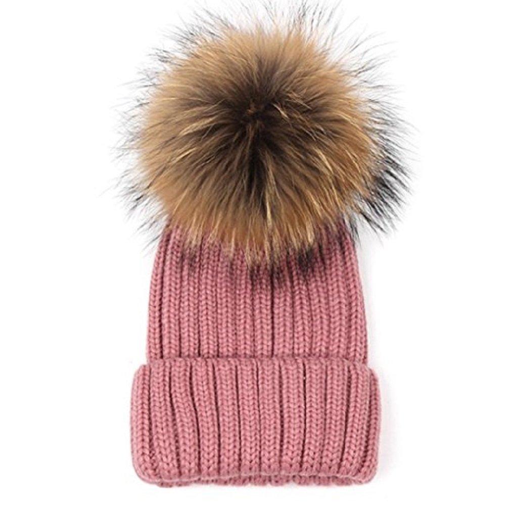 27c3e51c37ca5 LUXEHOME Handmade Womens Girls Winter Premium Large Raccoon Fur Pom Pom Cap  Knit Beanie Hat (Grey) at Amazon Women s Clothing store
