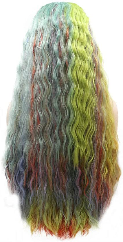 Drag Queen peluca amarilla naranja azul verde púrpura mezcla colorido Encaje frente Pelucas para las mujeres onda de agua sirena arco iris sintético ...