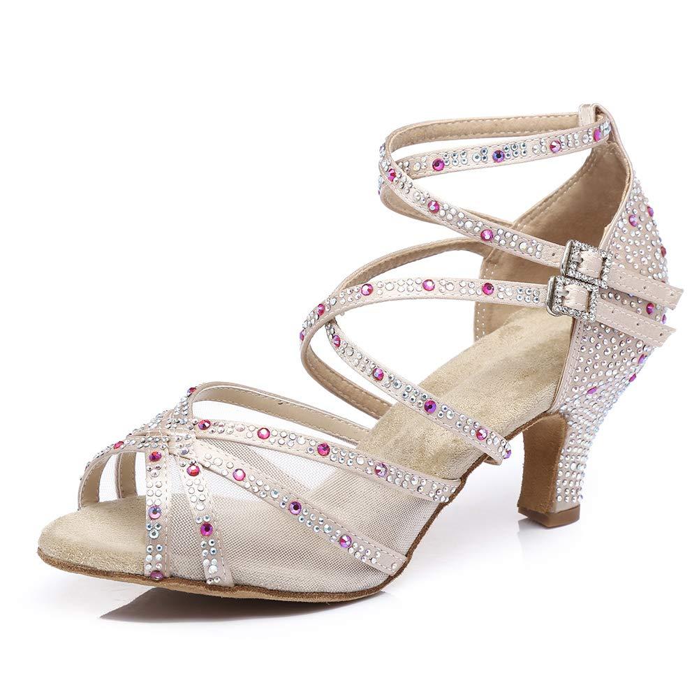 HIPPOSEUS Womens Latin Dance Shoes with Rhinestones Ballroom Party Tango Performance Shoes,Model YC373