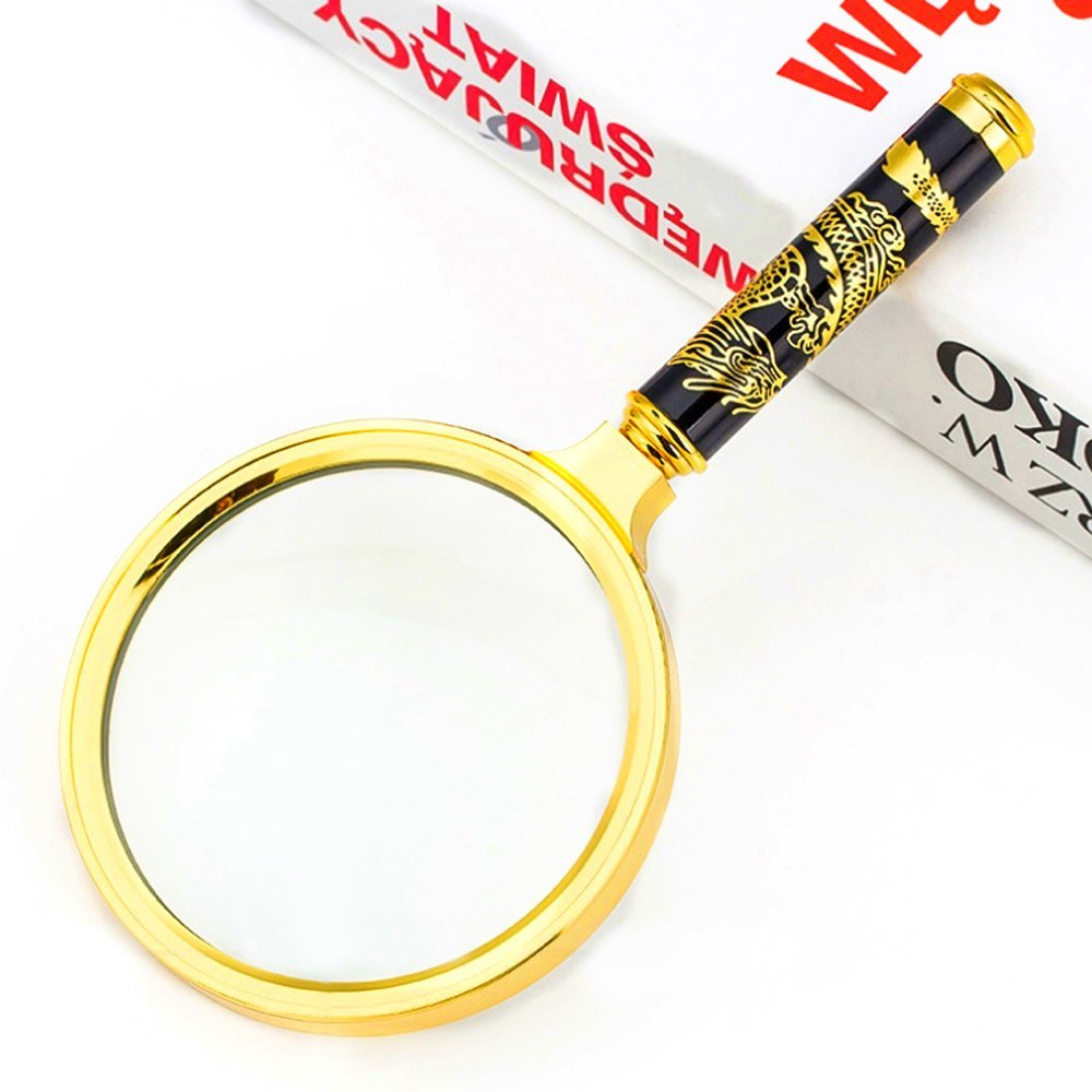 90mm Handheld 5X Loupe Magnifier Magnifying Glass Lens with Metal Handle for Seniors Book Reading, Science, Inspection, Coins, Insects, Rocks, Map, Crossword Puzzle