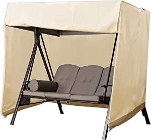 """Naiveroo Patio Outdoor Swing Cover, Waterproof 3 Triple Seater Canopy Chair Cover Furniture Protector All Weather Protection 88""""(W) x60''(D) x72''(H) (Beige)"""