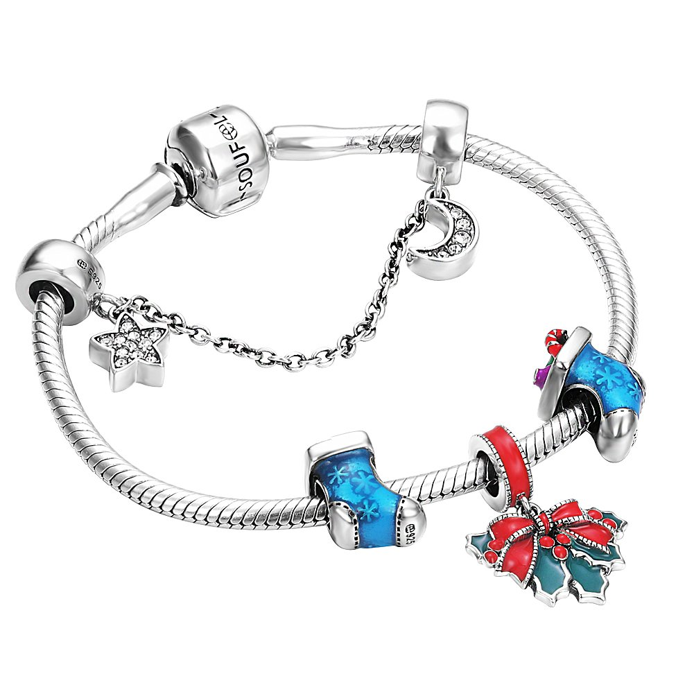 SOUFEEL Christmas Charm Bracelets Poinsettia 925 Sterling Silver Bracelet 7.9 Inch Charms Christmas Day Gifts