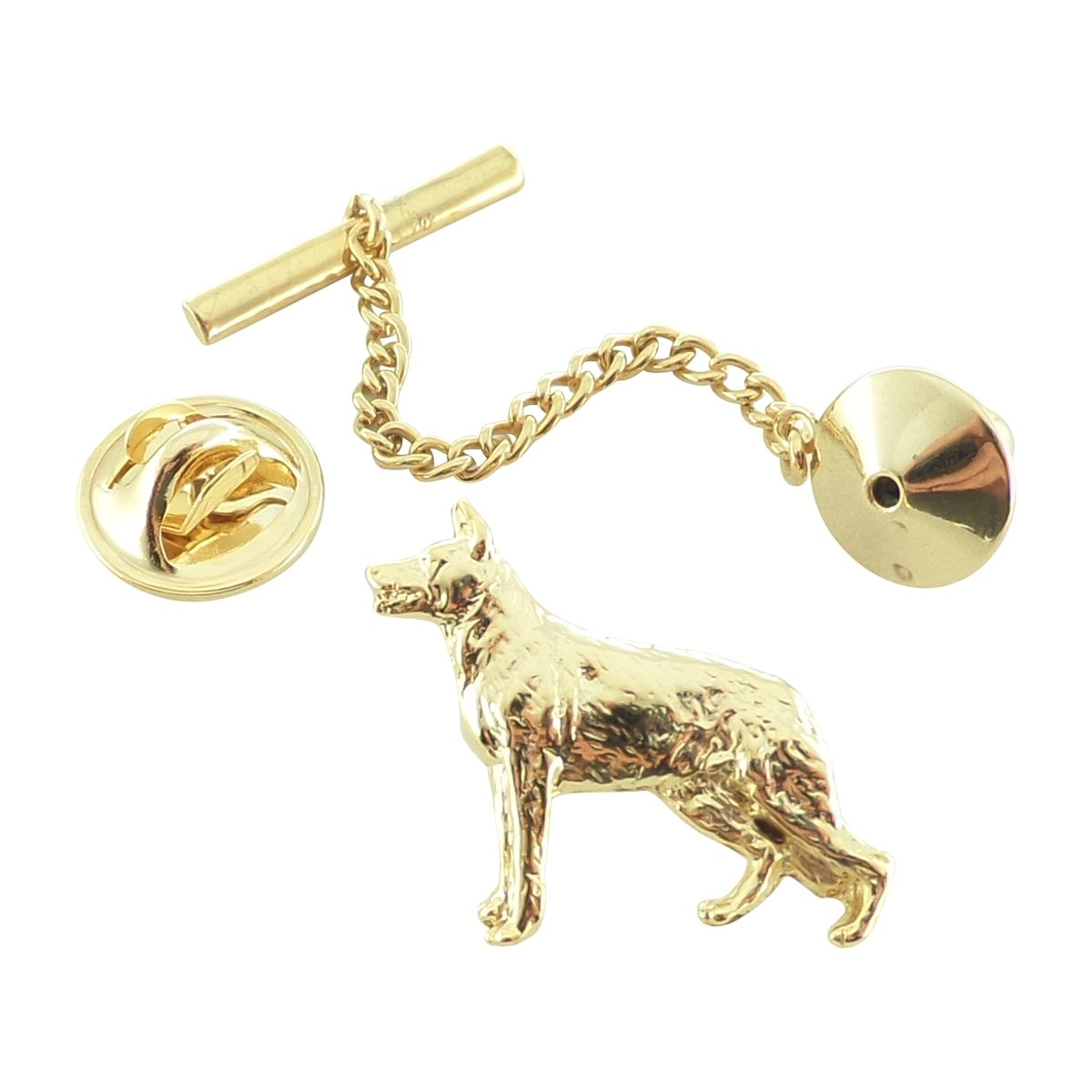 Creative Pewter Designs, Pewter German Shepherd Tie Tack, Gold Plated, DG384TT by Creative Pewter Designs (Image #1)