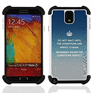 BullDog Case - FOR/Samsung Galaxy Note3 N9000 N9008V N9009 / - / MESSAGE CROWN INSPIRING KING PERFECT /- H??brido Heavy Duty caja del tel??fono protector din??mico - silicona suave