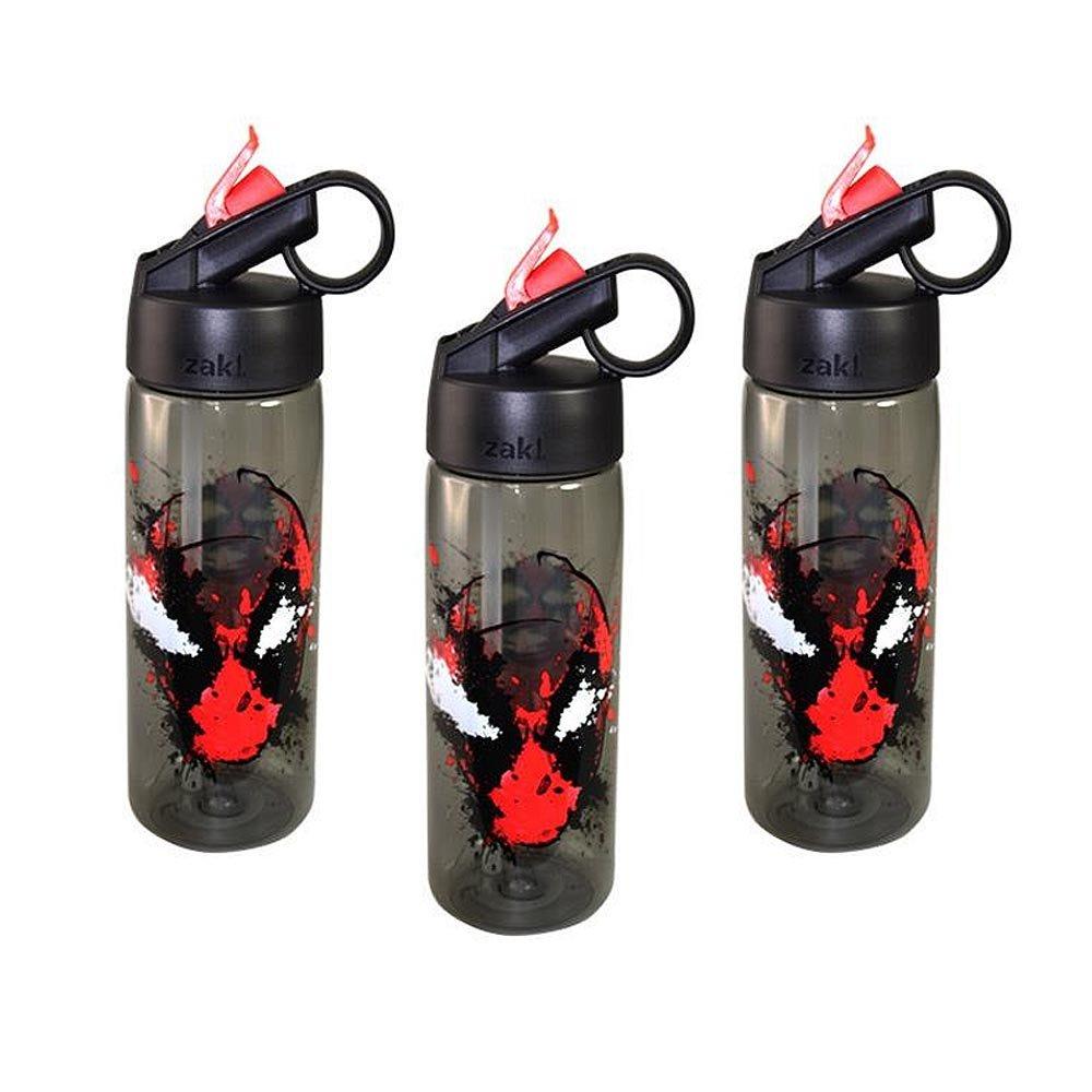 Zak Designs 3 - Packマーベルコミックデッドプール25oz Aspen TritanウォーターボトルSipperリングトップ、BPAフリー B07CWF6Z1C