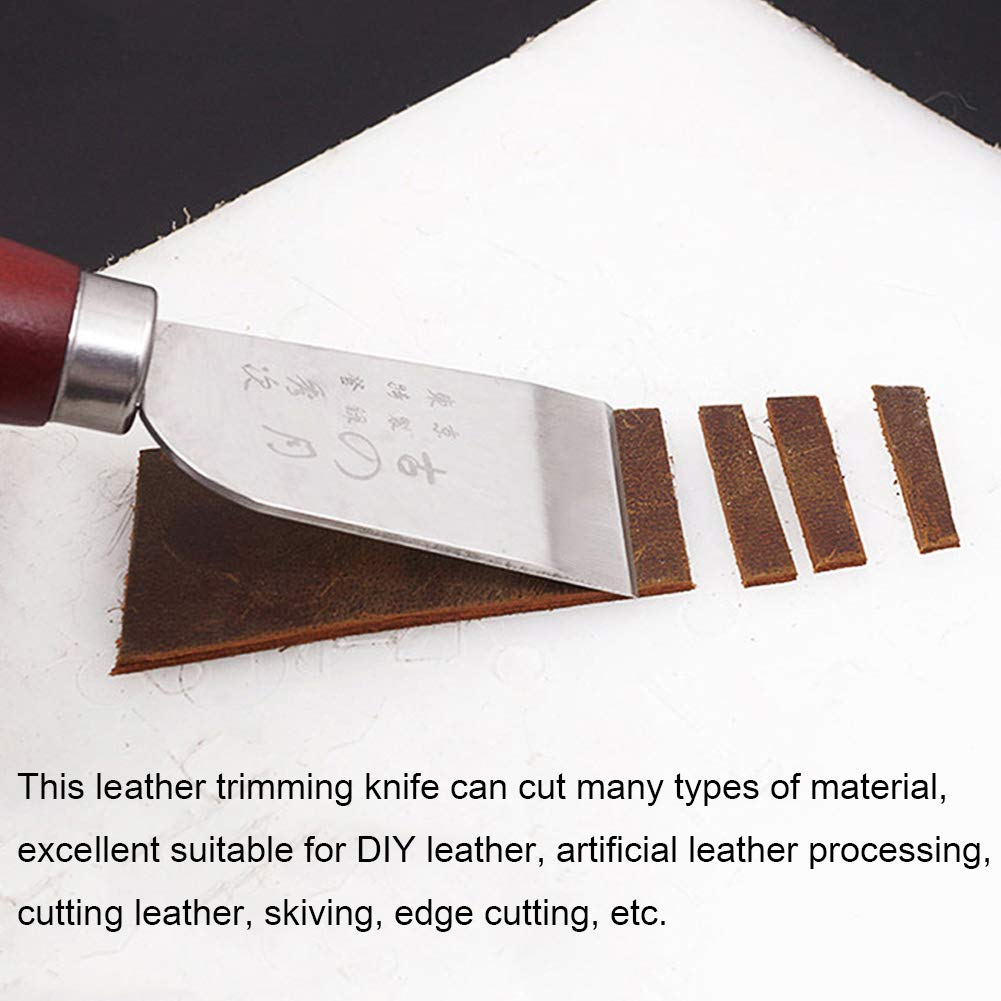 Leather Cutting Knife, CJRSLRB Wooden Handle Stainless Steel Leather Trimming Knife, Craft Knife Tool for DIY Leathercraft Cutting