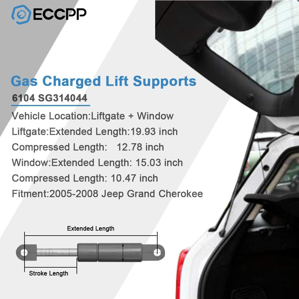 ECCPP 2pcs Liftgate and 2pcs Window Glass Lift Supports Struts for 2005-2008 Jeep Grand Cherokee