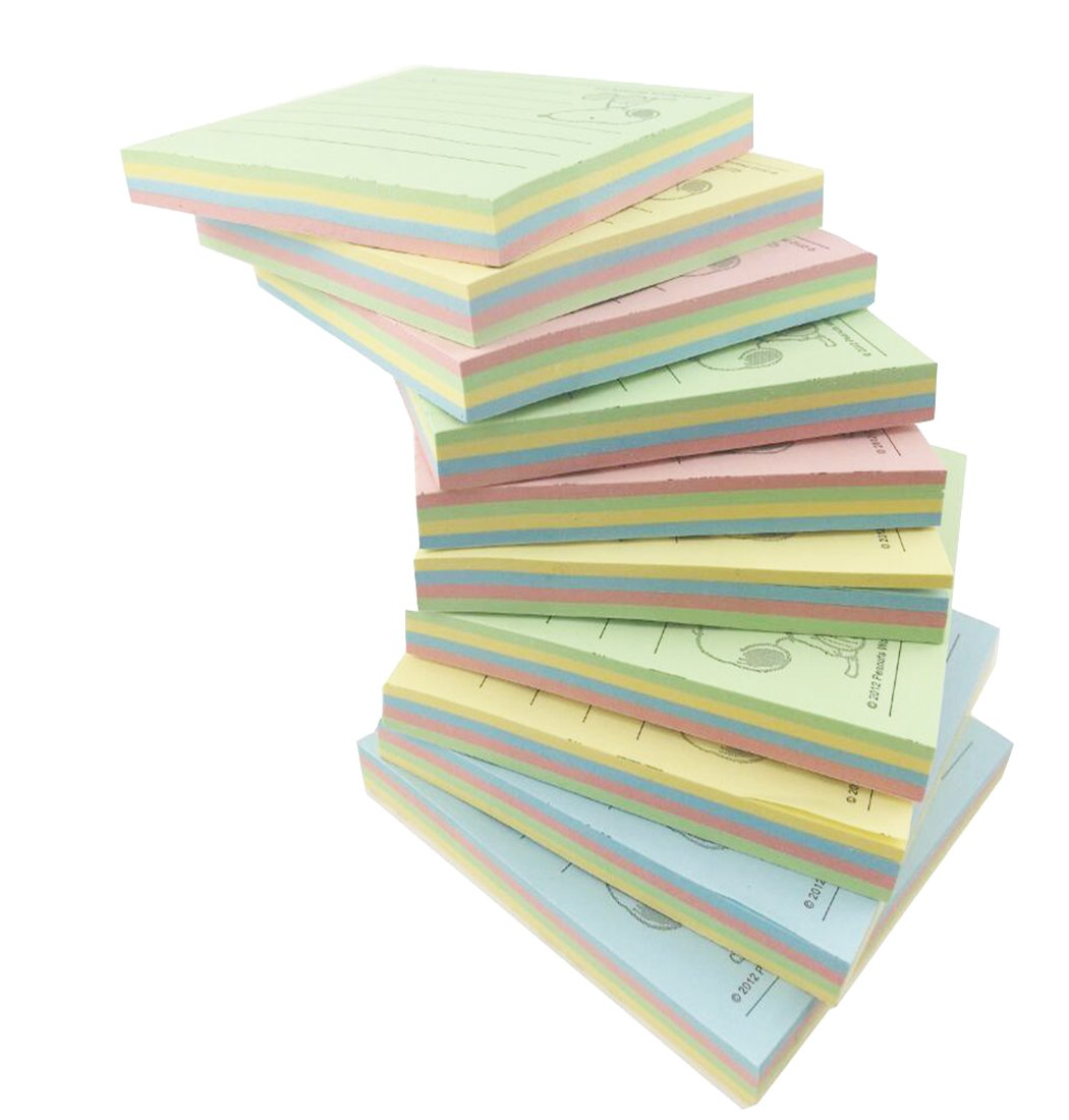 Peanuts Character Snoopy Colorful Sticky Notes, 2.95 in x 2.95 in, 10 Pads/Pack, 80 Sheets/Pad,YS-80