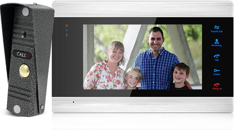 JeaTone Wired Video Door Phone Intercom System,7 Inches Video Doorbell Phone,IR Night Version Doorbell Camera IP65 Waterproof Security Camera Kits Support Monitoring, Unlock, Dual way intercom