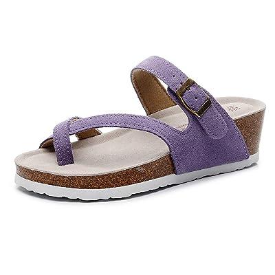 Amazon.com | GUOLUOFEI Women Wedge Cork Suede Slippers, Summer Adjustable Buckle Casual Cork Sandals | Sandals