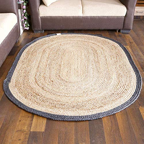 (Braided Area Rug - Indian Jute Burlap Entryway Rugs Country Rustic Farmhouse Decor - Natural Blue - 4x6 Feet)