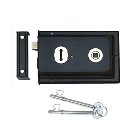 Picaporte con conjunto de - doble para zurdos borde negro Locks cobertizos puertas + 2 llaves