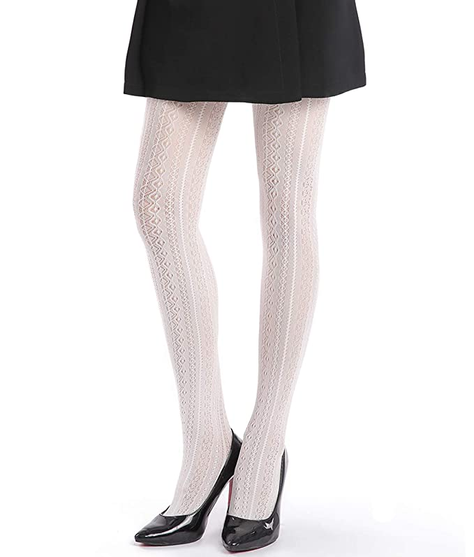 1960s Tights, Stockings, Panty Hose, Knee High Socks EachEver Women Fishnet Hollow Out Chiffon Lace Stockings Tights Vertical Strips Pantyhose $11.99 AT vintagedancer.com