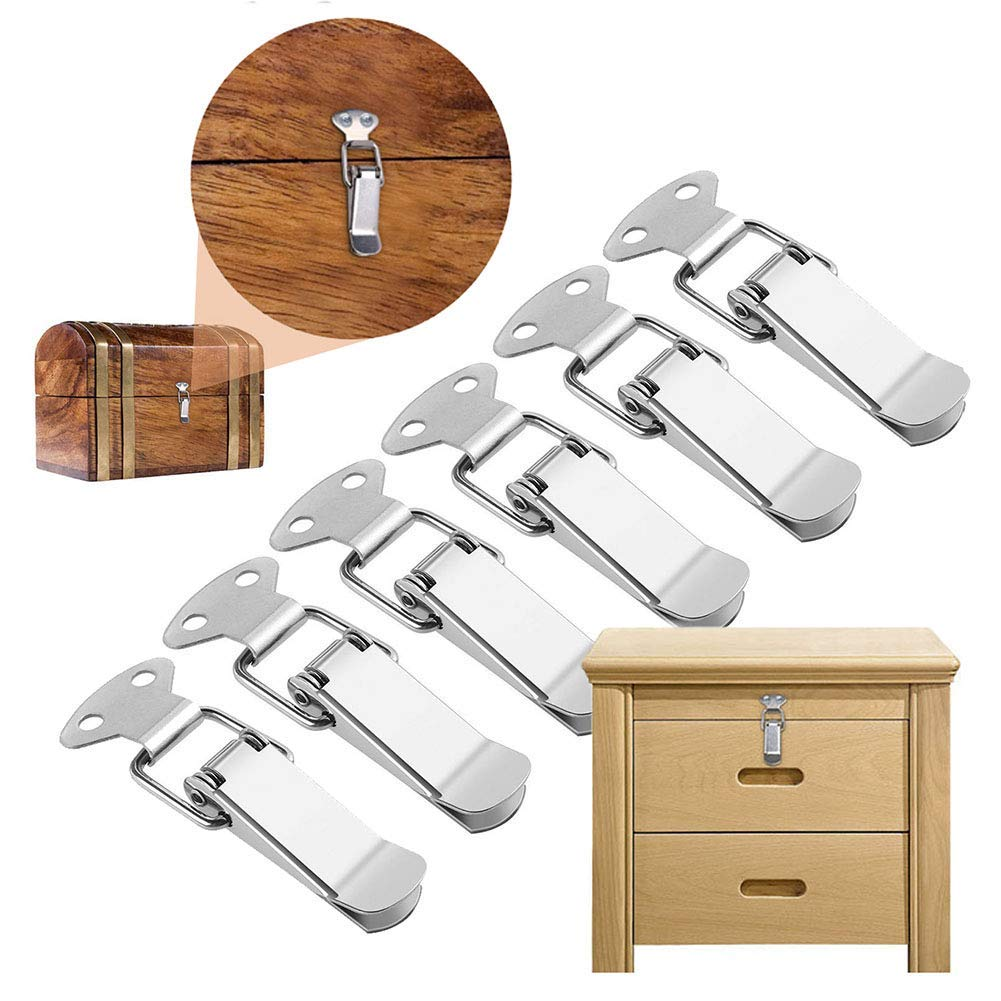 Gasea 6 Packs Stainless Steel Spring Loaded Toggle Latch Catch Hasp Clasp Clamp Clip Duck Billed Buckles or Case Box Cabinet Toolbox Drawer Chest Trunk 58mm Overall Length