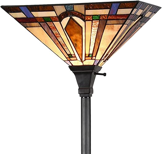 Tiffany Style 1-Light Mission Floor Torchiere Lamp Standing Light Stained Glass Arrow Lampshade 69 H x14.1 W for Living Room Bedroom, Multi-Colored