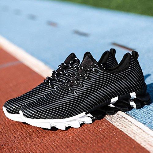 Scarpe da uomo sneaker maschio Flyknit Scarpe da corsa autunno slittata luce traspirante tempo libero Scarpe sportive , Black , 41