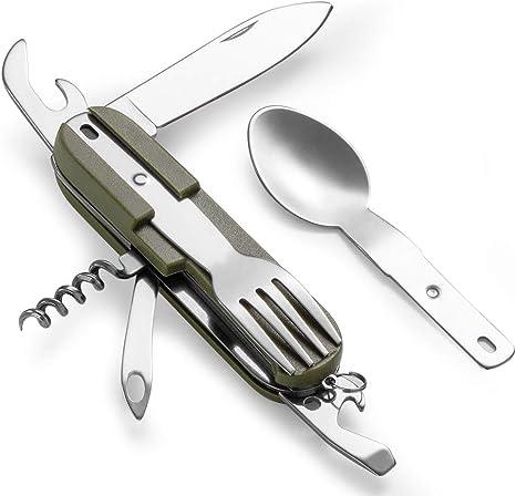 8 in 1 Stainless steel Fork Spoon Spork Cutlery Utensil Combo Camping Outdoor