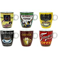 TheKitchenette Lot DE 6 Tasses À CAFÉ Old School en Porcelaine 15CL DÉCORS Assorties