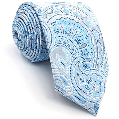 Shlax&Wing Paisley Silver Light Blue Neckties Silk Ties For Men (New Mens Paisley Light)